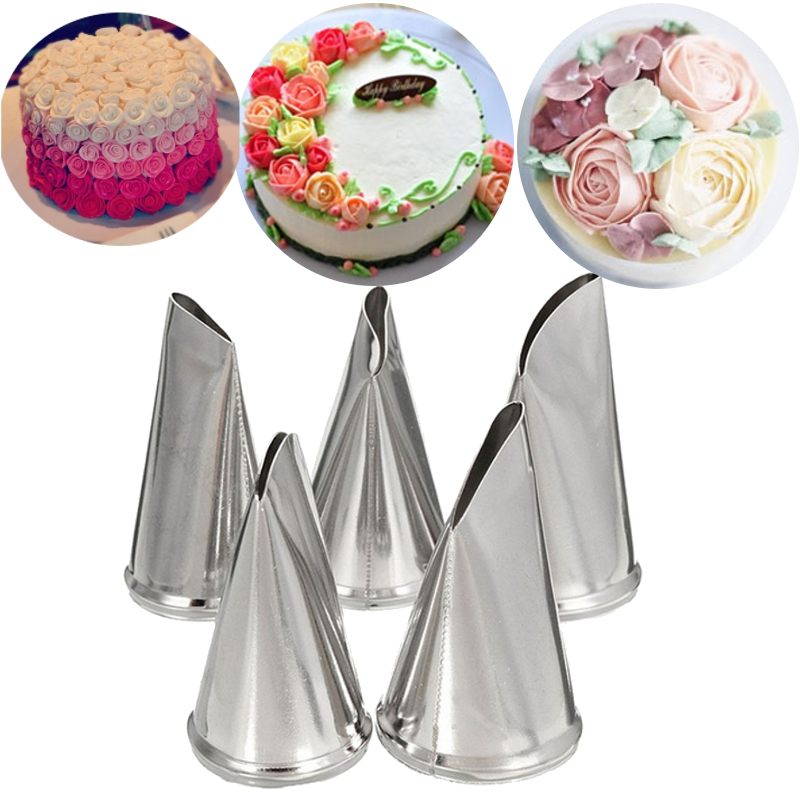 5 Pcs Set Rose Petal Icing Piping Nozzles Metal Cream Tips ...