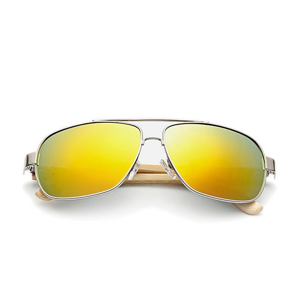 UV400 Bamboo Legs Men Women Sunglasses Metal Frames Outdoor Colorful ...