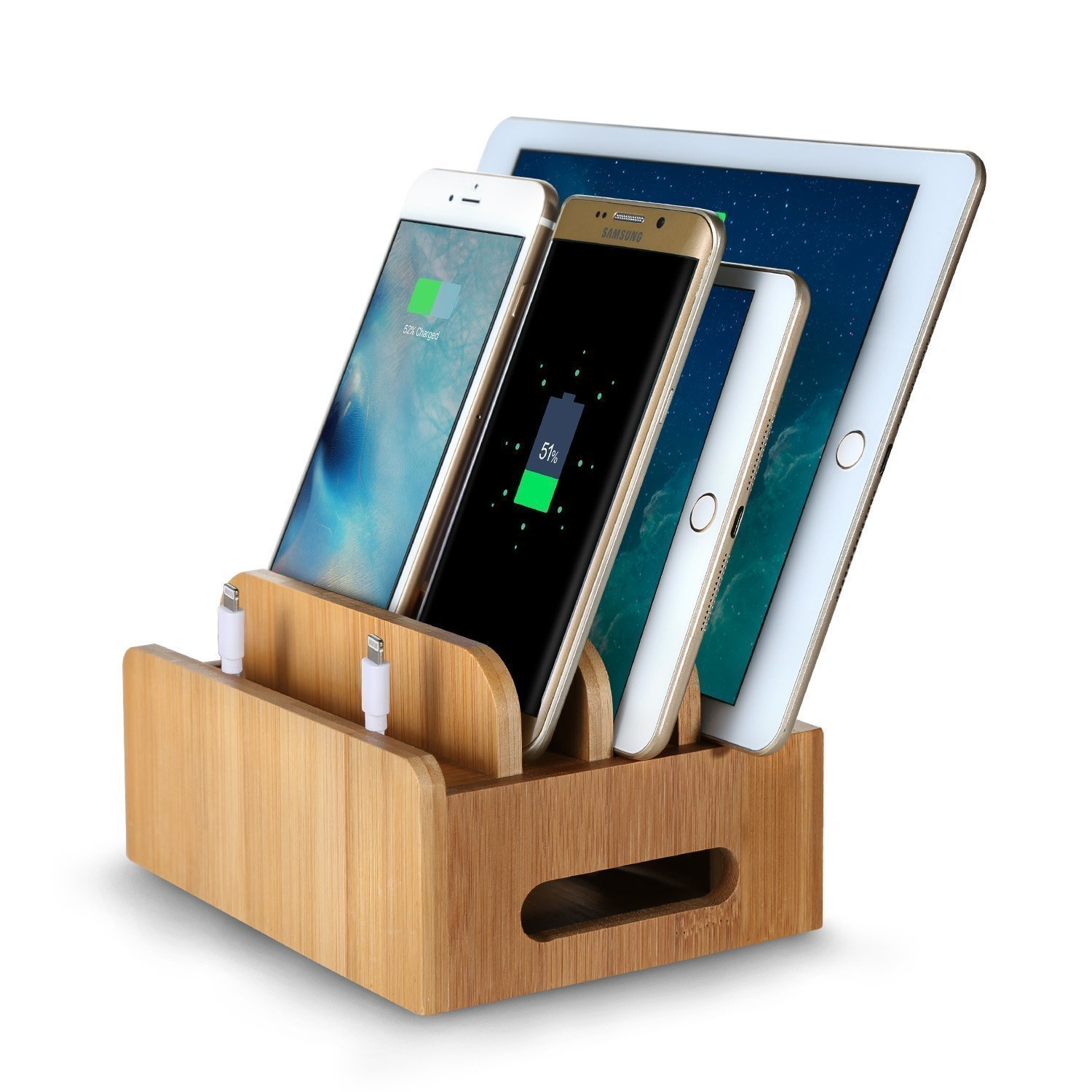 charging station organizer bamboo multi device phone holder charging dock stand 29409