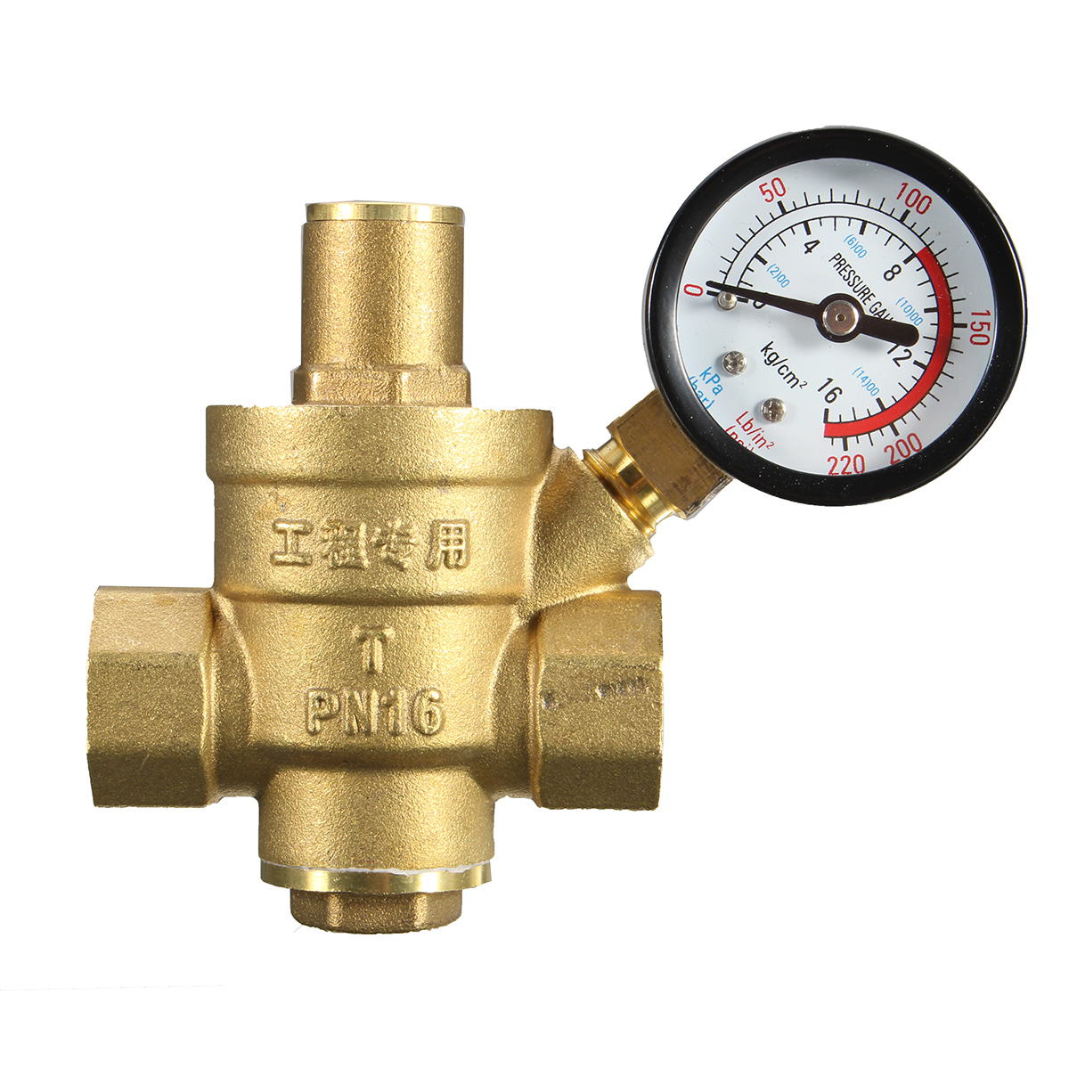 dn20 npt adjustable brass water pressure regulator reducer with gauge meter alex nld. Black Bedroom Furniture Sets. Home Design Ideas
