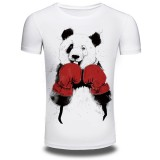 Summer Men's Fashion Boxing Panda Print T-shirt Casual Round Neck Short Sleeved Tops Tees