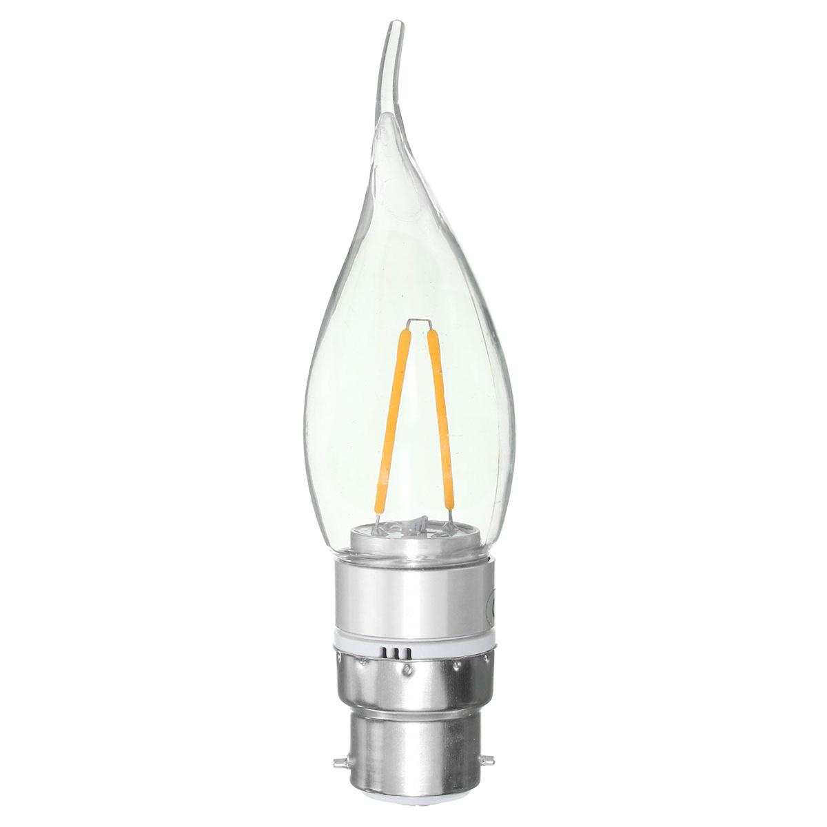 E27 E14 E12 B22 B15 2w Non Dimmable Sliver Edison Pull Tail Incandescent Candle Light Bulb 110v