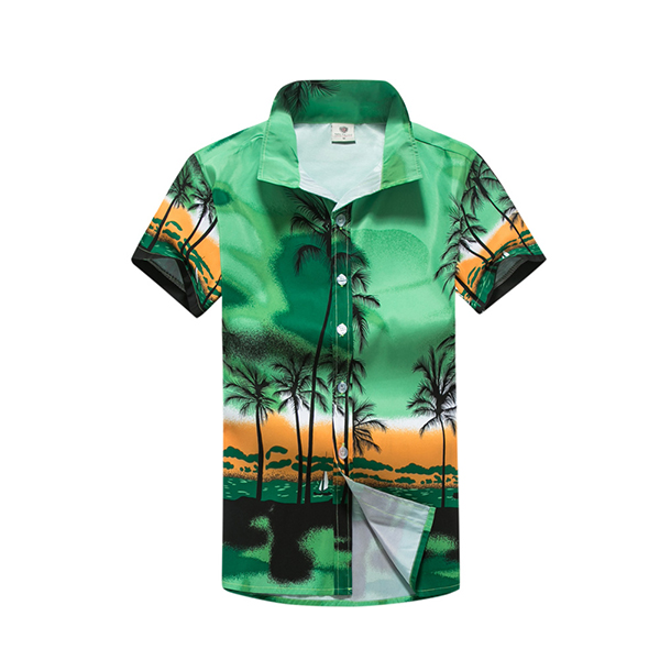 Beach Holiday Breathable Quick-drying Coconut Tree Printing Loose Lounge Short-sleeved Men Shirts