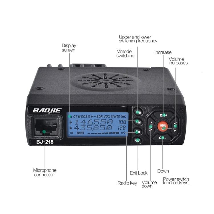 BaoJie BJ-218 25W Mobile Radio VHF UHF 136-174 400-470MHz Ham Radio Car Walkie Talkie Long Range