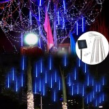 Solar Powered 30cm 8 Tube LED Meteor Shower Rain Garden Tree Outdoor Holiday Light