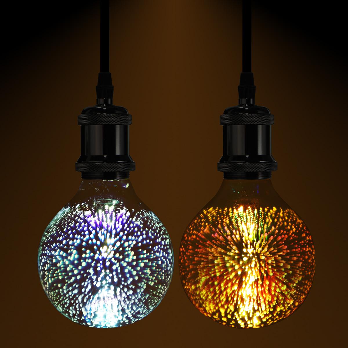 Decorative Lamps: 3D Fireworks E27 G80 LED Retro Edison Decorative Light