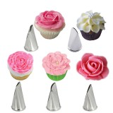 5 Pcs Set Rose Petal Icing Piping Nozzles Metal Cream Tips Cake Decorating Tools Cupcake Pastry Tool