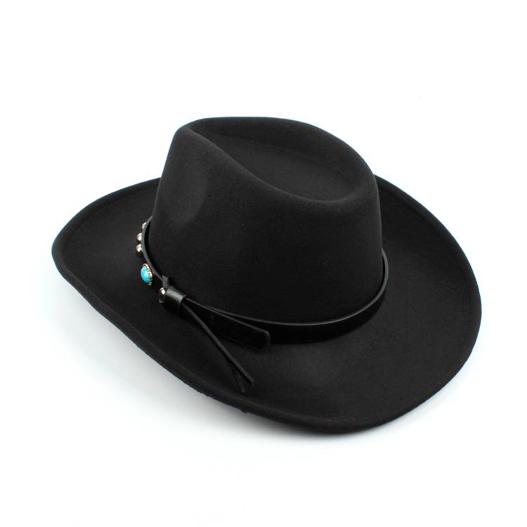 Mens Women Vintage Woolen Western Cowboy Hat Wide Brim Cowgirl Jazz ... 2a998c371d86