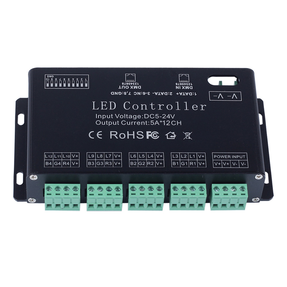 12 channel rgb dmx 512 led controller decoder dimmer driver for led strip module light dc5v 24v. Black Bedroom Furniture Sets. Home Design Ideas