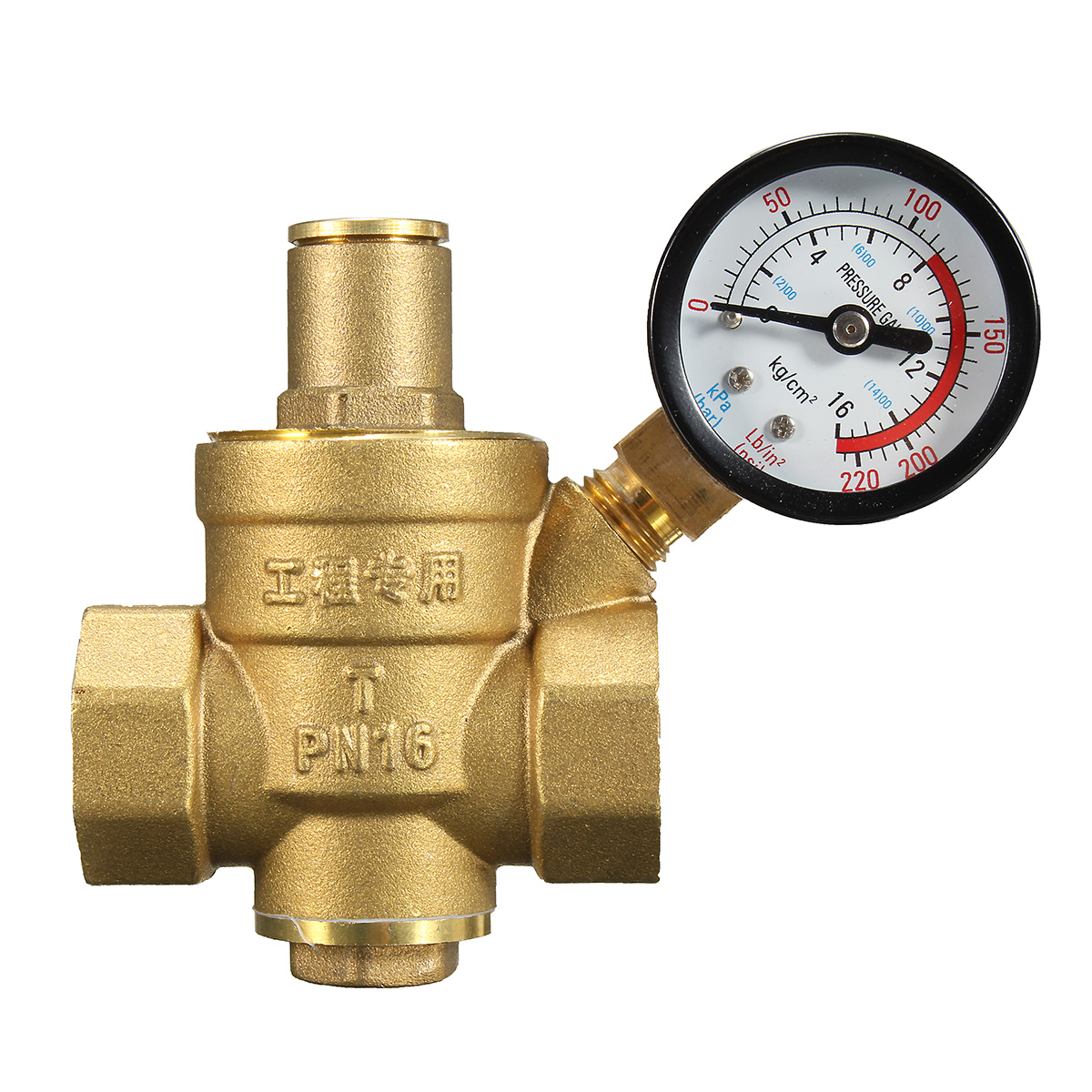 dn20 npt 3 4 adjustable brass water pressure regulator reducer with gauge meter alex nld. Black Bedroom Furniture Sets. Home Design Ideas