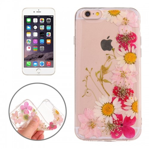 For iPhone 6 Plus & 6s Plus Epoxy Dripping Pressed Real Dried Flower Soft Transparent TPU Protective Case