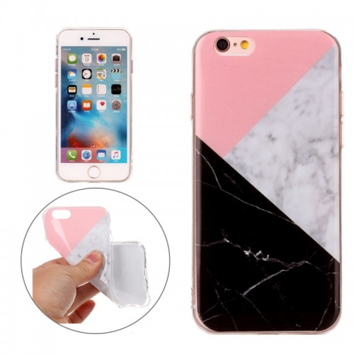 For iPhone 6s Plus & 6 Plus Pink Black Color Matching Marble Pattern Soft TPU Protective Case