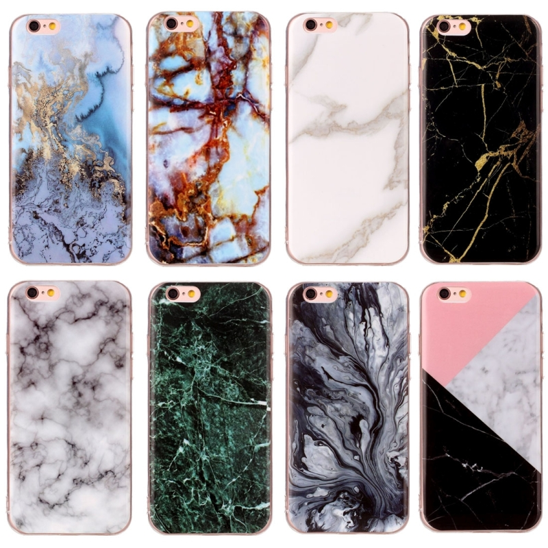 For iPhone 6s Plus & 6 Plus Black Marble Pattern Soft TPU Protective Case