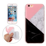 For iPhone 6 & 6s Pink Black Color Matching Marble Pattern Soft TPU Protective Case
