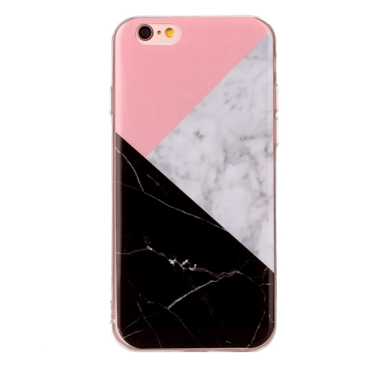 For Iphone 6 Amp 6s Pink Black Color Matching Marble Pattern
