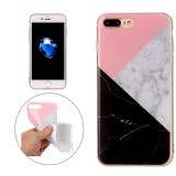 For iPhone 7 Plus Pink Black Color Matching Marble Pattern Soft TPU Protective Case