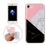 For iPhone 7 Pink Black Color Matching Marble Pattern Soft TPU Protective Case