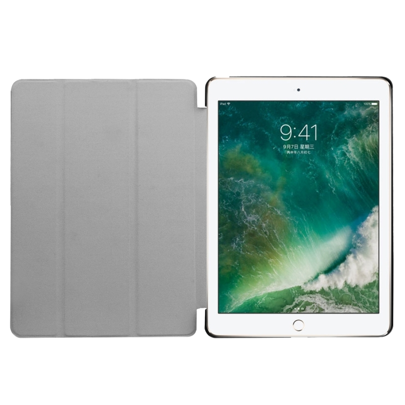 For iPad 9.7 inch 2017 Custer Texture Horizontal Flip Leather Case with Three-folding Holder (White)