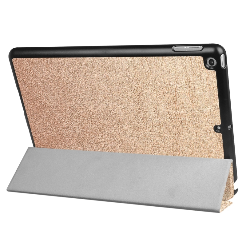 For iPad 9.7 inch 2017 Custer Texture Horizontal Flip Leather Case with Three-folding Holder (Gold)