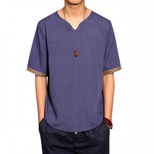 Retro Chinese Style T-shirt Summer Men's Linen Solid Color V-neck Short Sleeve Tops Tees