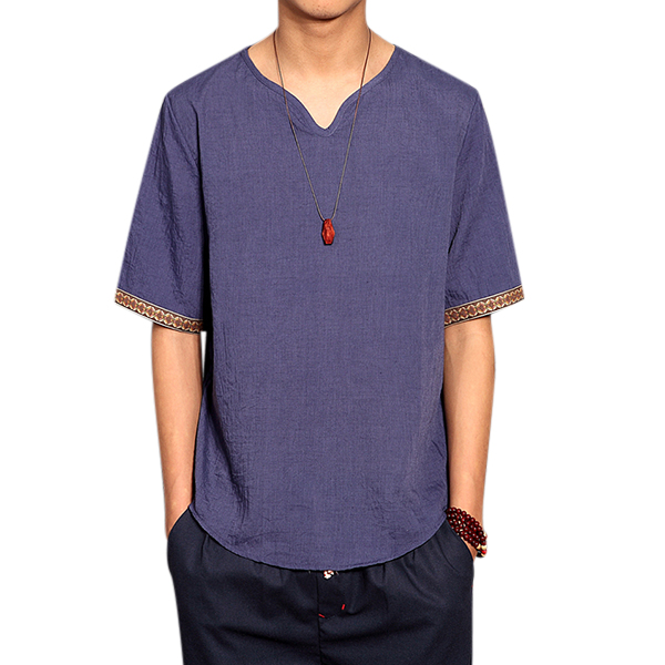 8abc2677127 Retro Chinese Style T-shirt Summer Men s Linen Solid Color V-neck Short  Sleeve