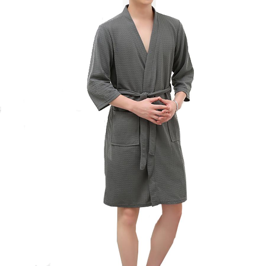 Honana BX-987 Towel Bathrobe Dressing Gown Unisex Men Women Solid ...