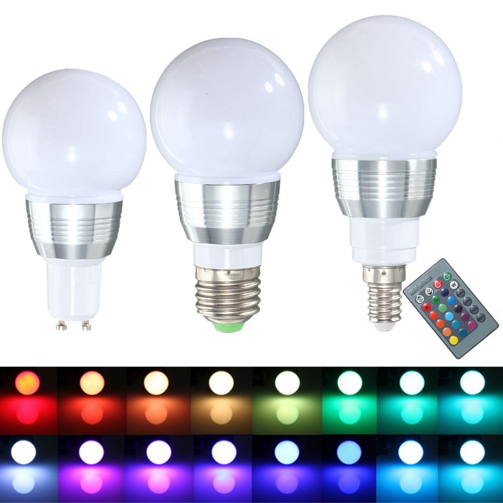 E27 E14 GU10 3W Dimmable Remote Control RGB Color Change ...