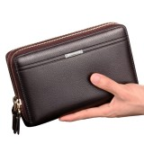 Men PU Leather Clutch Wallet Waterproof Business Long Zipper Wallet Phone Holder