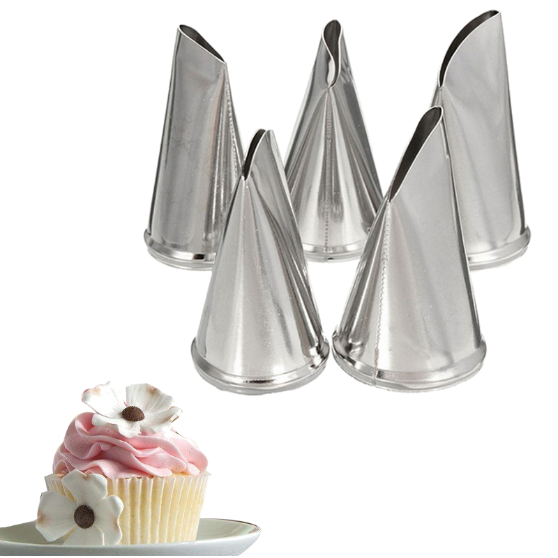 Cake Decorating Metal Tips : 5 Pcs Set Rose Petal Icing Piping Nozzles Metal Cream Tips ...