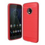For Motorola Moto G5 Plus Brushed Carbon Fiber Texture Shockproof TPU Protective Cover Case (Red)