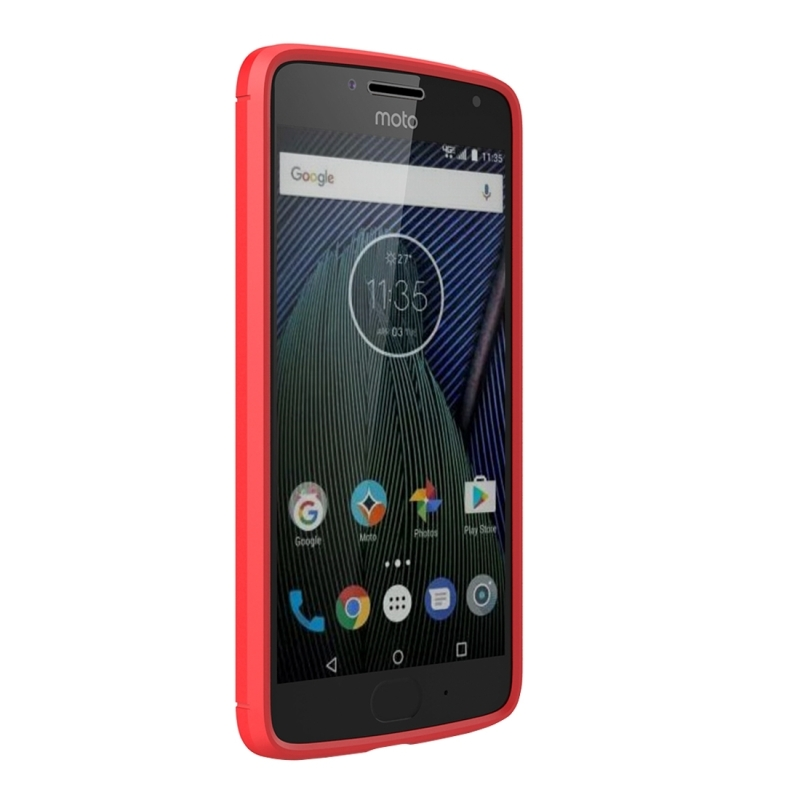 For Motorola Moto G?5th Gen.? Brushed Carbon Fiber Texture Shockproof TPU Protective Cover Case (Red)