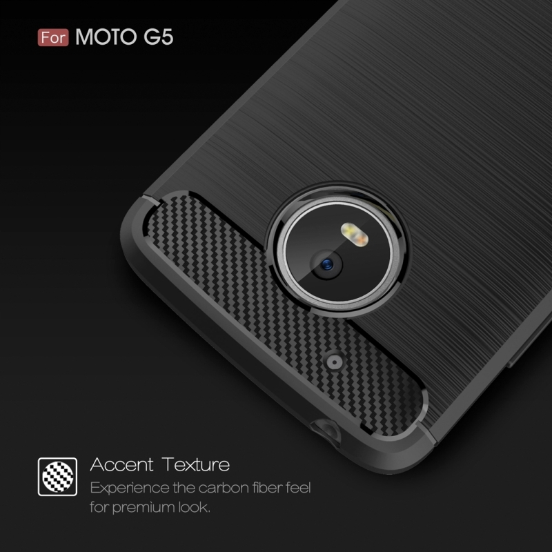 For Motorola Moto G?5th Gen.? Brushed Carbon Fiber Texture Shockproof TPU Protective Cover Case (Grey)