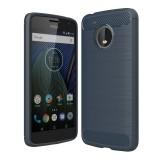 For Motorola Moto G?5th Gen.? Brushed Carbon Fiber Texture Shockproof TPU Protective Cover Case (Blue)