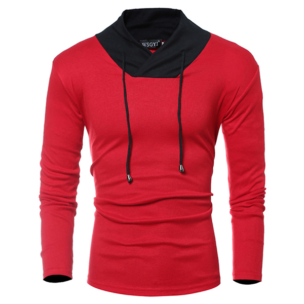 Spring Summer Men's Hit color Causal Long-Sleeve T-shirts Loose Elastic Soft Cotton Shirts