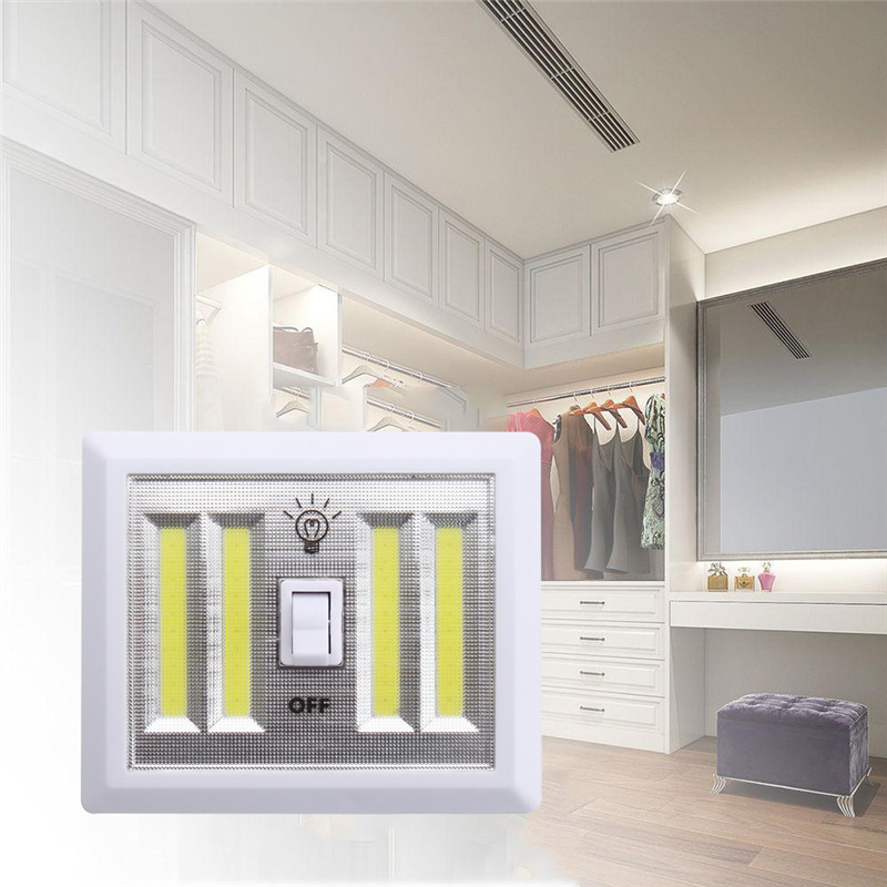 Self Switched Wall Lights : 4X COB LED Bulb Night Light Wall Switch Self-Stick Closet 6000K White Bright Alex NLD