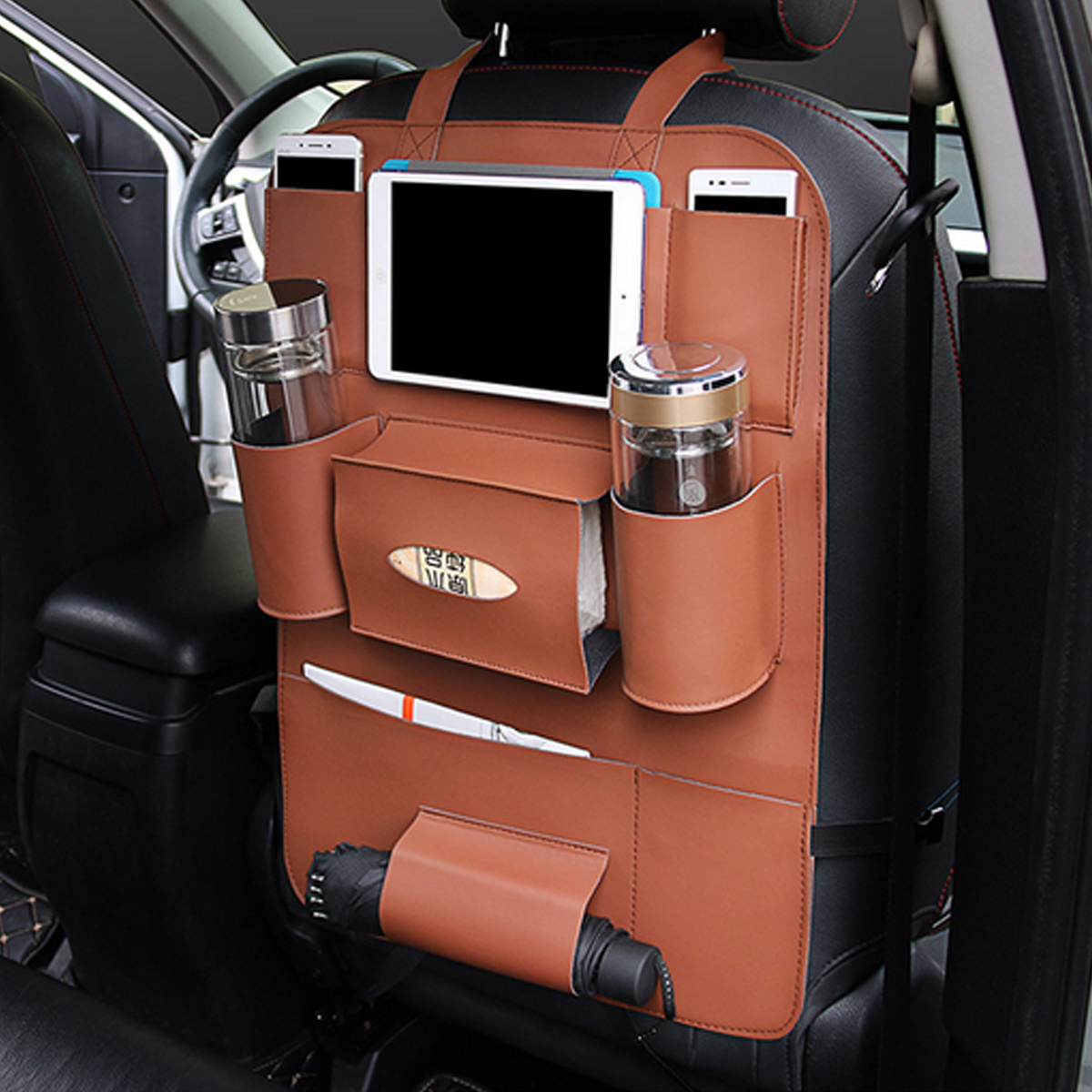 multifunctional pocket car backseat phone holder pu leather seat organizer storage for phone. Black Bedroom Furniture Sets. Home Design Ideas