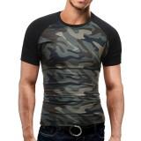 Summer Leisure Fashion Camouflage T-shirt Men's Raglan Sleeve Short Sleeve Tops Tees