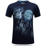 Plus Size S-4XL Fashion 3D Wolf Pattern Printing T-shirt Men's Round Neck Short Sleeve Tees