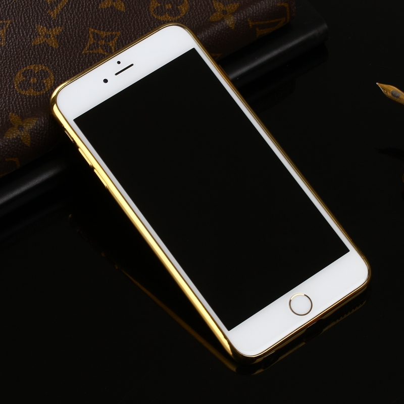 Litchi Grain Plating TPU Silicone Ultra-thin Cover Case for iPhone 6Plus & 6sPlus 5.5 Inch