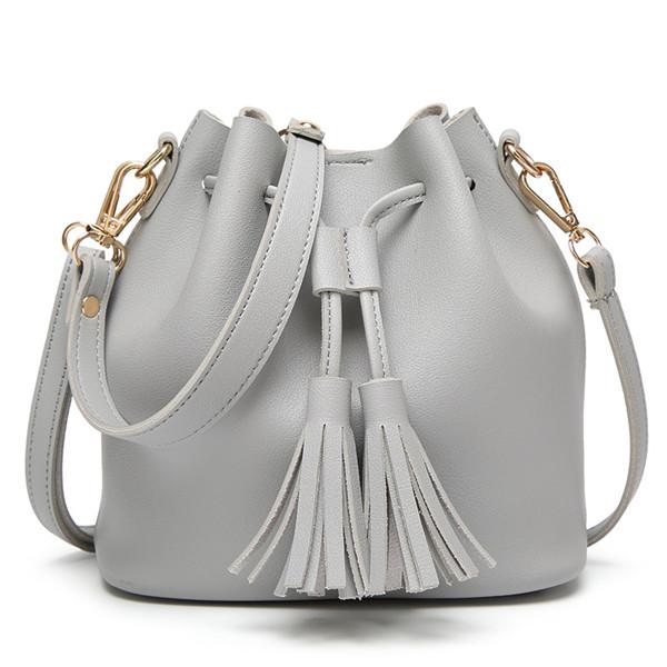 Women PU Leather Drawstring Bucket Bags Retro Tassel Shoulder Bags ...