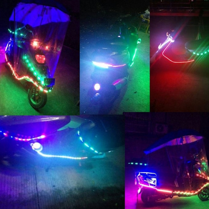 30cm Colorful Water Flowing Chassis Decorative Strip Light with 32 SMD-2835 LED Lamps for Car Motorcycle Electric Bike, DC 12V