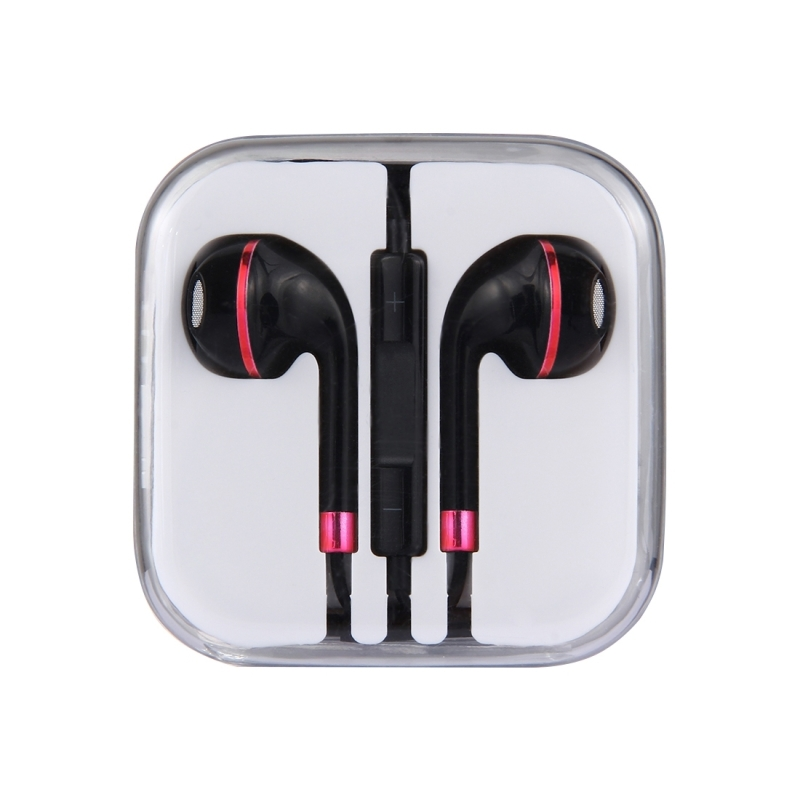 Black Wire Body 3.5mm In-Ear Earphone with Line Control & Mic for iPhone, Samsung, HTC, Sony and other Smartphones (Red)