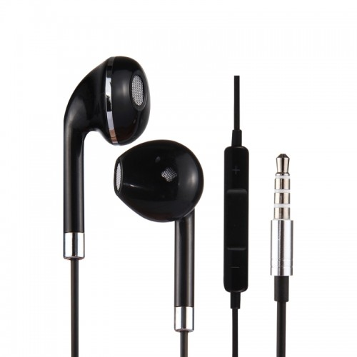 Black Wire Body 3.5mm In-Ear Earphone with Line Control & Mic for iPhone, Samsung, HTC, Sony and other Smartphones (Silver)