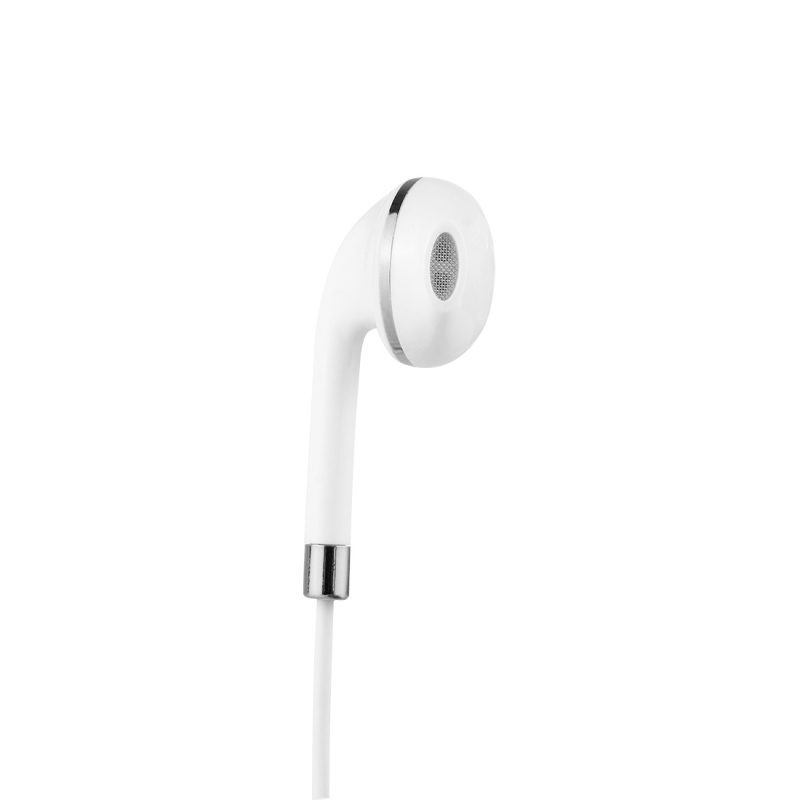 White Wire Body 3.5mm In-Ear Earphone with Line Control & Mic for iPhone, Samsung, HTC, Sony and other Smartphones (Silver)