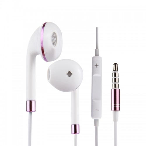 White Wire Body 3.5mm In-Ear Earphone with Line Control & Mic for iPhone, Samsung, HTC, Sony and other Smartphones (Purple)