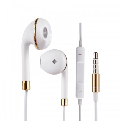 White Wire Body 3.5mm In-Ear Earphone with Line Control & Mic for iPhone, Samsung, HTC, Sony and other Smartphones (Gold)