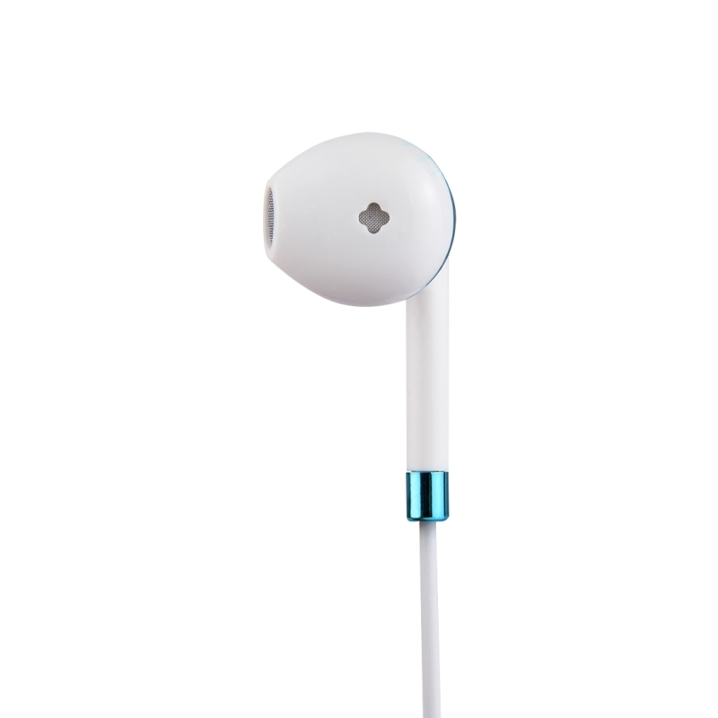 White Wire Body 3.5mm In-Ear Earphone with Line Control & Mic for iPhone, Samsung, HTC, Sony and other Smartphones (Blue)