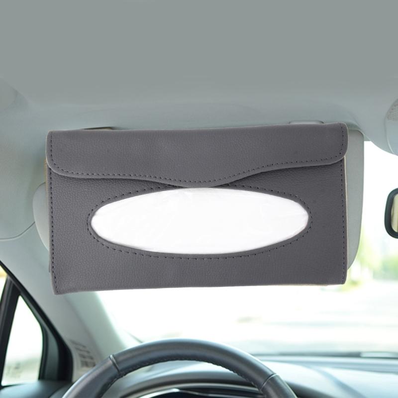 elegant pu leather car sun visor tissue paper holder dispenser box grey. Black Bedroom Furniture Sets. Home Design Ideas