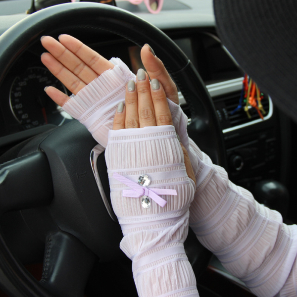 Summer Lady Lace Silk Gloves Printed Long Sleeves Anti-UV Sun Fingerless Arm Multi Color