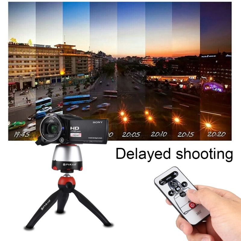 PULUZ Electronic 360 Degree Rotation Panoramic Tripod Head + Tripod Mount + GoPro Clamp + Phone Clamp with Remote Controller for Smartphones, GoPro, DSLR Cameras (Red)